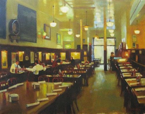 """The beer hall"" original fine art by Kathy Weber"