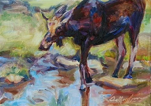 """Mumbrum the Moose"" original fine art by Carol DeMumbrum"