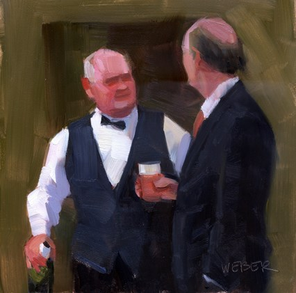"""Cocktails at the club"" original fine art by Kathy Weber"