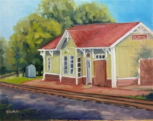 """St James Depot-en plein air"" original fine art by Veronica Brown"