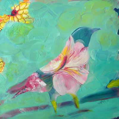"""Crow Upcycled 4"" original fine art by Pam Van Londen"