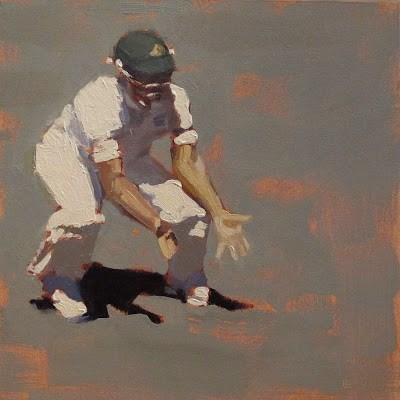 """SILLY POINT - Cricket at the MCG"" original fine art by Helen Cooper"