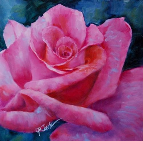 """Blue Confetti Rose, 8 x 8 Oil, Floral"" original fine art by Donna Pierce-Clark"