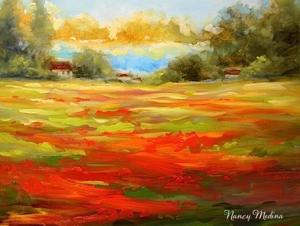 """Sweet Home Sunset by Texas Flower Artist Nancy Medina"" original fine art by Nancy Medina"