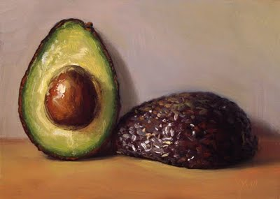 """Avocado Halves"" original fine art by Abbey Ryan"