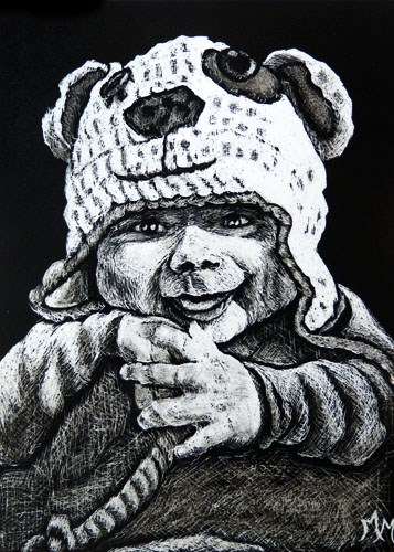 """Luca  (ACEO)"" original fine art by Monique Morin Matson"