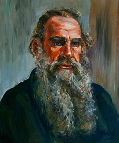 """Lew Tolstoi"" original fine art by Jurij Frey"