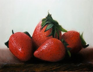 """Strawberries"" original fine art by Jonathan Aller"