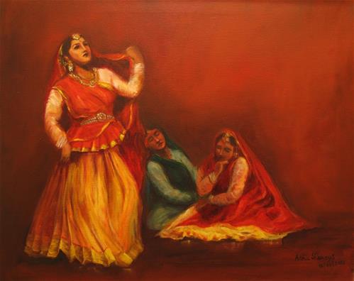 """Indian Kathak Dancers-2"" original fine art by Asha Shenoy S"