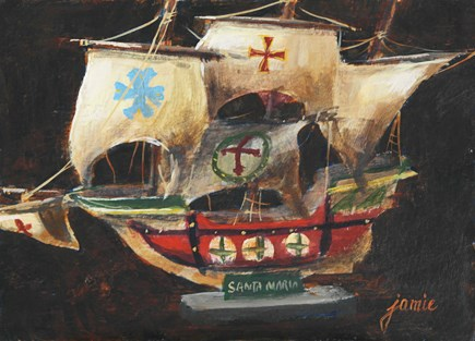 """Full Sails on the Santa Maria"" original fine art by Jamie Williams Grossman"