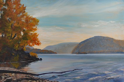 """Hudson River in Blues and Rusts"" original fine art by Jamie Williams Grossman"