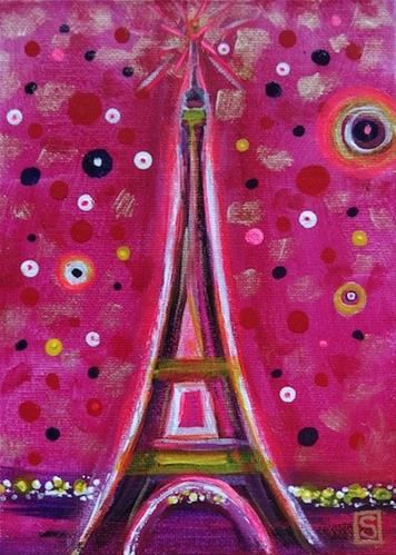 """4121 - Paris in Magenta"" original fine art by Sea Dean"