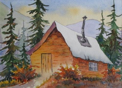 """Mountain Cabin"" original fine art by Horst Berlow"