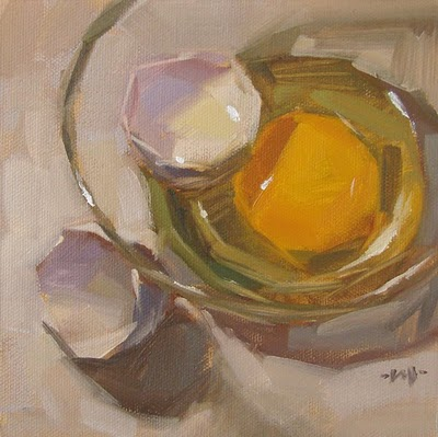 """Egg in Glass"" original fine art by Carol Marine"
