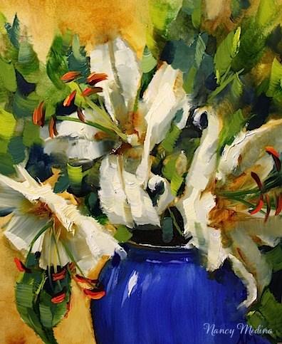 """Blue Monday Lilies Step by Step by Texas Flower Artist Nancy Medina - Not for Sale"" original fine art by Nancy Medina"