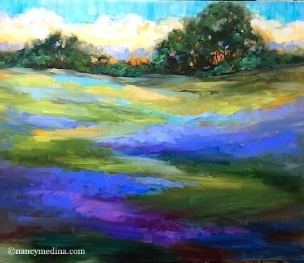 """""""Bue Rain Bluebonnets - Flower Paintings by Nancy Medina"""" original fine art by Nancy Medina"""