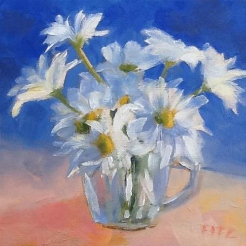"""Daisies in a Pitcher"" original fine art by Jean Fitzgerald"
