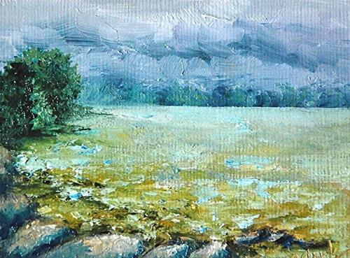 """Storm Coming [Indian Lake]_2.5 x 3.5 Oil Landscape"" original fine art by Donna Pierce-Clark"