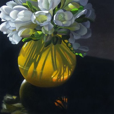 """Yellow Vase With Freesia 6x6"" original fine art by M Collier"