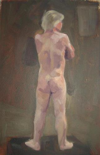 """Evening Model, 10x12 inches, oil on masonite, about 2003"" original fine art by Megan Schembre"