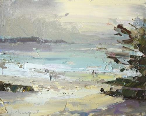 """Seascape Evening Light Carmel Beach – First Impression"" original fine art by Roos Schuring"