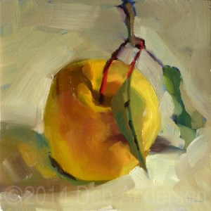 """Oil Painting of an Apple"" original fine art by Deb Anderson"