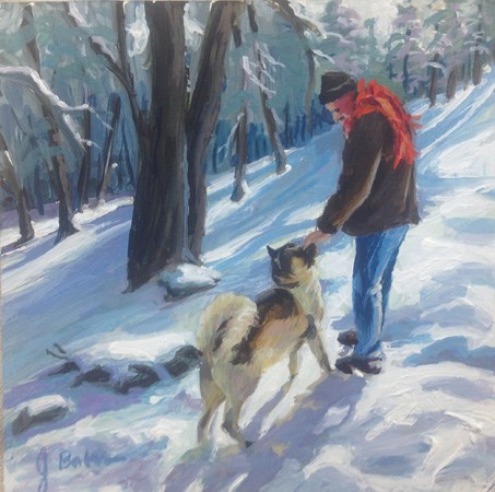 """Atta Boy, Snow Day"" original fine art by gabriele baber"