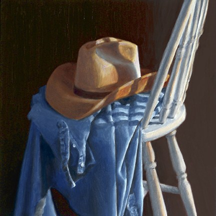 """Cowboy Hat on White Chair II"" original fine art by Nance Danforth"