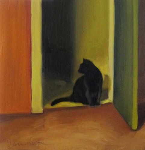 """The Lookout oil painting of cat in doorway"" original fine art by Diane Hoeptner"