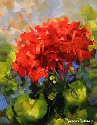 """June Bloom Geranium by Floral Artist Nancy Medina"" original fine art by Nancy Medina"