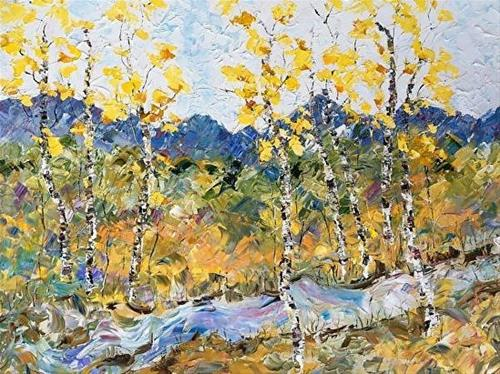 """Palette Knife Aspen , Colorado Landscape Painting Autumn River by  Colorado Impressionist Judith B"" original fine art by Judith Babcock"
