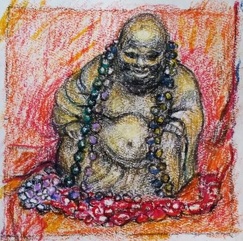 """Buddha with Mardi Gras Beads"" original fine art by Selby Minner"