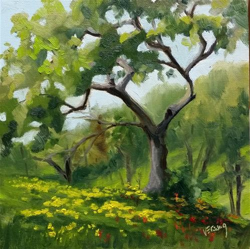 """Hiking at Shaw-en plein air"" original fine art by Veronica Brown"