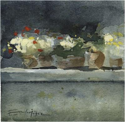 """patio 73"" original fine art by Emilio López"
