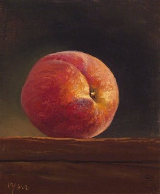 """Peach on a Wood Block"" original fine art by Abbey Ryan"