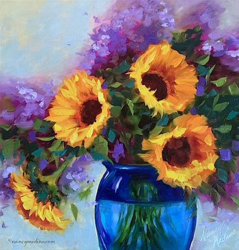 """""""New Poppy Cell Phone Cases and Brink of Spring Sunflowers - Flower Painting Classes and Workshops by"""" original fine art by Nancy Medina"""