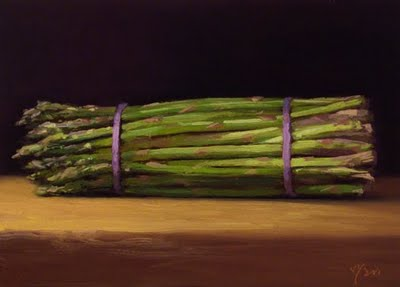 """Asparagus in Early Morning Light"" original fine art by Abbey Ryan"