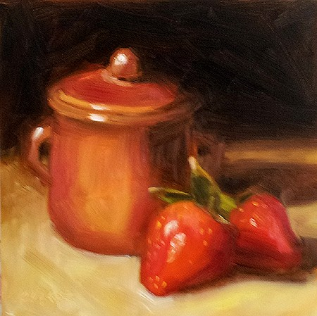 """""""Pot and Strawberries"""" original fine art by Cindy Haase"""