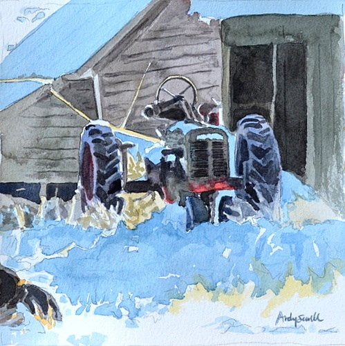 """The Old Tractor - 6x6 watercolor by Andy Sewell"" original fine art by Andy Sewell"