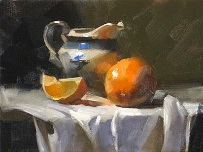 """Orange Rocks --- Sold"" original fine art by Qiang Huang"