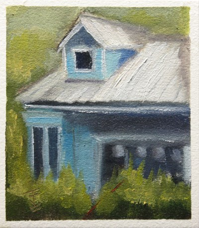 """Blue House"" original fine art by Jane Frederick"