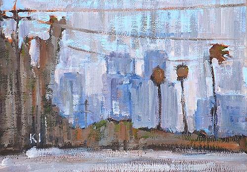 """San Diego Skyline, Rain"" original fine art by Kevin Inman"