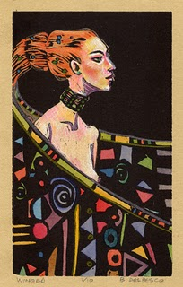 """Linocut: Winged"" original fine art by Belinda Del Pesco"