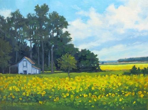 """'Southern Sunflowers' An Original Oil Painting by Claire Beadon Carnell"" original fine art by Claire Beadon Carnell"
