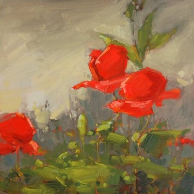 """Poppies, Poppies..."" original fine art by Laurel Daniel"