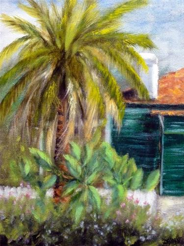 """New Orleans Palm Tree And White Picket Fence"" original fine art by Dalan Wells"