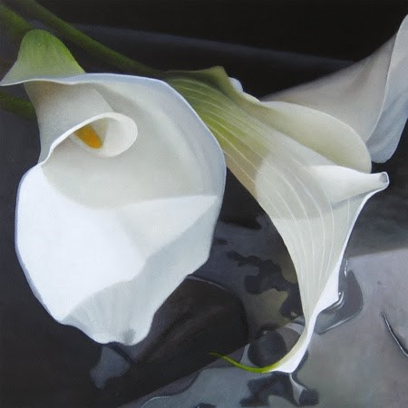 """Lilies 8x8"" original fine art by M Collier"