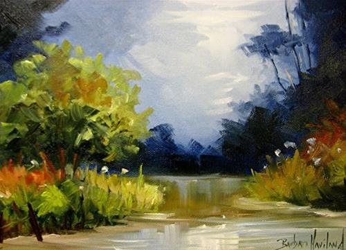 """Creek at Dusk"" original fine art by Barbara Haviland"
