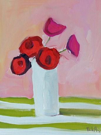 """Pink with Stripes"" original fine art by Pamela Munger"
