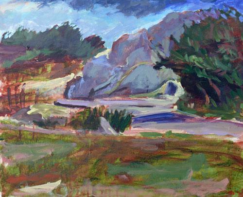 """Macaulay Point Park Scene, acrylic, 16x20"" original fine art by Darlene Young"